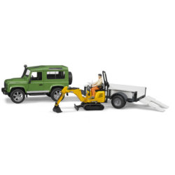 Bruder Внедорожник Land Rover Defender c прицепом-платформой, гусеничным мини экскаватором 8010 CTS и рабоч