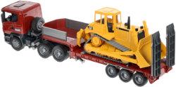 Bruder Прицеп платформа Scania с гусеничным бульдозером CAT