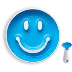 Munchkin Набор «Улыбка» (тарелка на присоске и ложка) 9+ Голубой