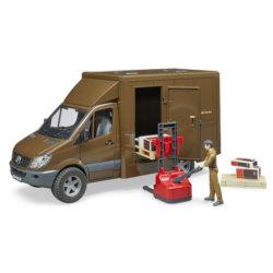 Bruder MB Sprinter фургон UPS с фигуркой, погрузчиком и аксессуарами