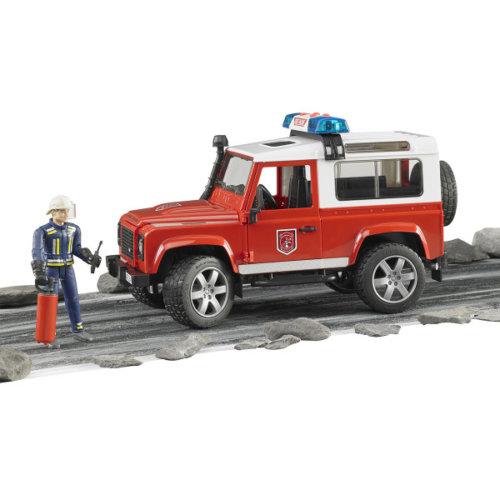 Bruder Внедорожник Land Rover Defender Station Wagon Пожарная с фигуркой