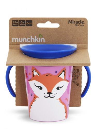 Munchkin поильник-непроливайка MIRACLE 360° ЭКО с ручками Лиса 177мл. 6+