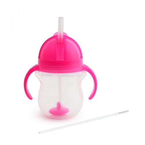 Munchkin поильник Click Lock с трубочкой и ручками Розовый 207 мл. 6+