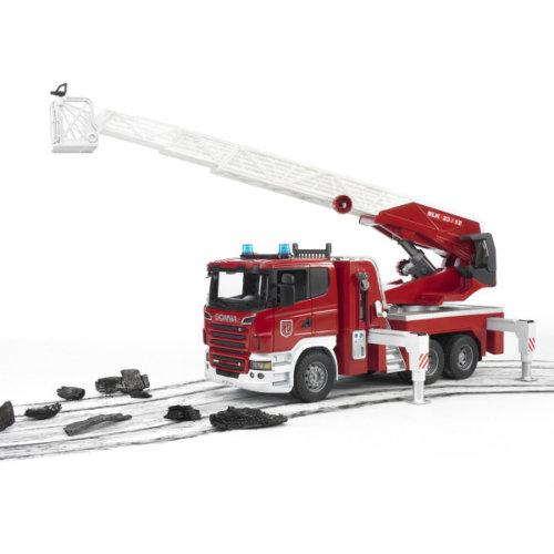 Bruder Пожарная машина Scania с выдвижной лестницей и помпой с модулем со световыми и звуковыми эффектами