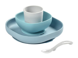 Beaba Набор посуды: 2 тарелки, стакан, ложка SILICONE MEAL SET
