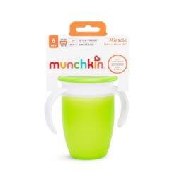 Munchkin поильник с крышкой MIRACLE® 360° непроливайка, с ручками Зеленый 207мл. 6+