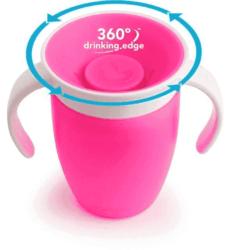 Munchkin поильник с крышкой MIRACLE® 360° непроливайка, с ручками Розовый 207мл. 6+
