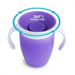 Munchkin поильник с крышкой MIRACLE® 360° непроливайка, с ручками Фиолетовый 207мл. 6+