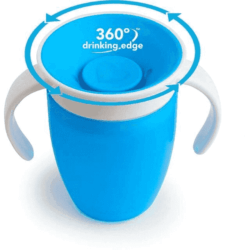 Munchkin поильник с крышкой MIRACLE® 360° непроливайка, с ручками Голубой 207мл. 6+
