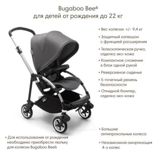 Bugaboo Bee6 коляска прогулочная Black/Grey Melange/Soft Pink