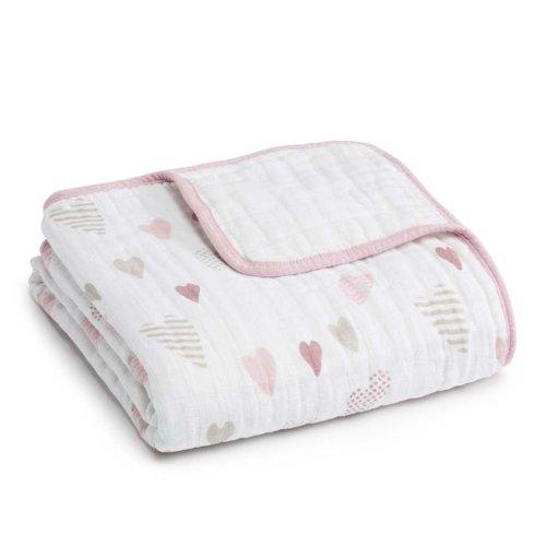 Aden+Anais 4-х слойное муслиновое одеяло Heart breaker 120×120см