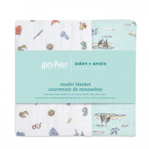 Aden+Anais 4-х слойное муслиновое одеяло Hogwarts essentials 112×112см