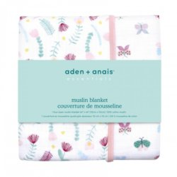 Aden+Anais 4-х слойное муслиновое одеяло Floral fauna 112×112см