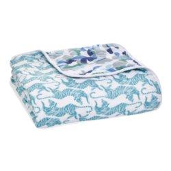 Aden+Anais 4-х слойное муслиновое одеяло Dancing tigers 120×120см