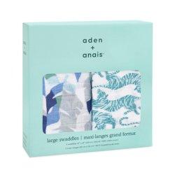 Aden+Anais Набор из 2 муслиновых пеленок Dancing tigers 120×120 см