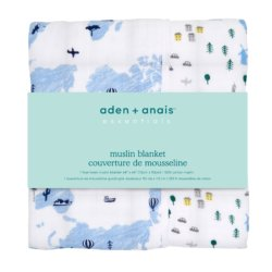 Aden+Anais 4-х слойное муслиновое одеяло Little big world 112×112см