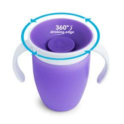 Munchkin поильник с крышкой MIRACLE 360 непроливайка, с ручками Фиолетовый 207мл. 6+