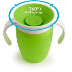 Munchkin поильник с крышкой MIRACLE 360 непроливайка, с ручками Зеленый 207мл. 6+
