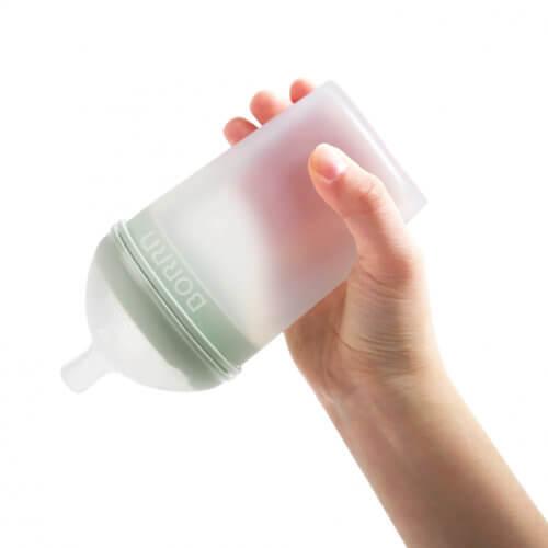 BORRN бутылочка для кормления из силикона 240 мл цвет зеленый